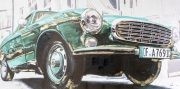 A996a-Vintage Sports Car, Teal, Canvas