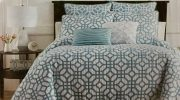 BK11a-King Coverlet, Aqua Blue Trellis