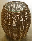 OT16a-Natural Wicker Side, Glass Top