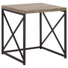 OT62a-Black Metal Side Table, Wood Top