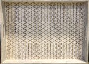 Tray, White Washed, Rattan LRG-Acc602a