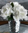 PL24b-White Flowers in Silver Beaded Pot