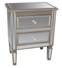 BS01a-Mirror 2drawer, Antique Silver