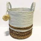 PLTP004-White & Brown Woven Basket