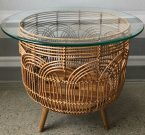 OT44a-Natural Wicker, Planter Table