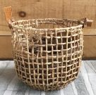 PLTP005-Wicker Basket, leather handles