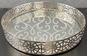 Tray, Round Silver w/mirror-Acc92e